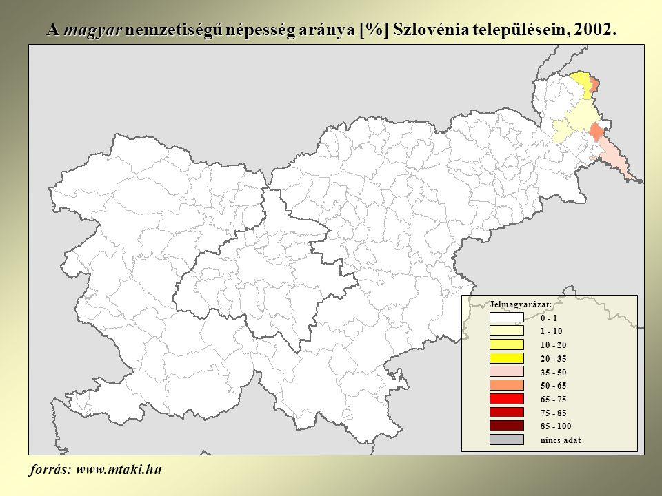 A magyar nemzetiségű népesség aránya [%] Szlovénia településein, 2002.
